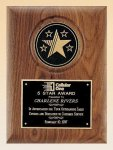 American Walnut Plaque with 5 Star Medallion  t Achievement Awards