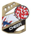 Cheerleader Color Medal Free Standing Or With Ribbon Cheerleading Trophy Awards