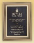 Gold Mirror Glass Plaque with Brass Plate Employee Awards