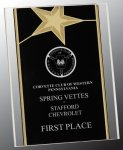 Black/Gold Standing Star Acrylic Recognition Plaque Employee Awards