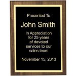 Bevel Solid Walnut Plaque (T) Employee Awards