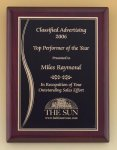 Rosewood Piano Finish Plaque with Brass Plate  t Employee Awards