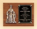Police Award Casting on Walnut Plaque   t Fire and Safety Awards