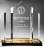 Triple Peak Top Color Accented Acrylic Award Presidential Acrylic Awards