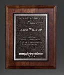 Walnut Panel; Silver Tone Plate Religious Awards