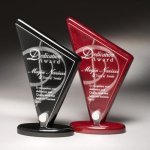 Piano Finish Triangle Shaped Acrylic Award Wood Metal Accent Awards